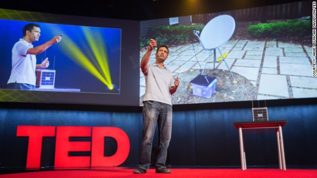 "Outernet founder Syed Karim at TEDGlobal 2014. Outernet describes itself as ""humanity's public library"" and is aiming to get information from the internet to the world's unconnected. It works by saving information from websites like Wikipedia as digital files and broadcasting them down from satellites. Anyone with a receiver can access the information."