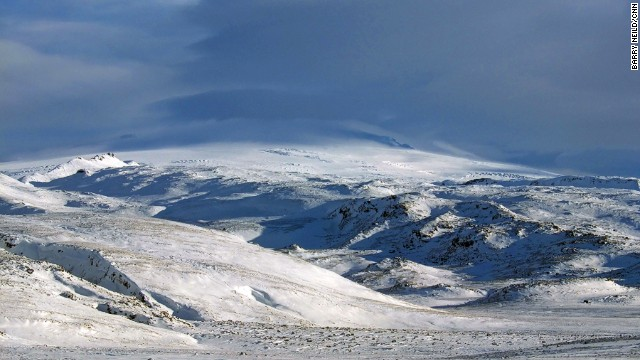 Seen here shrouded in snow, the top of Eyjafjallajokull is best reached by snowmobile or quadbike.