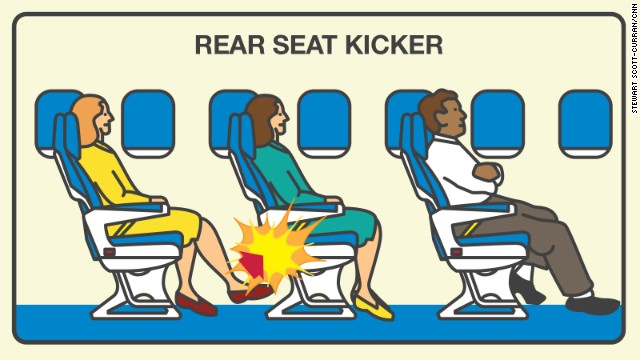 Passengers who use their feet as weapons topped Expedia's list of onboard etiquette violators in its 2014 Airplane Etiquette Study. Some 67% of those surveyed find rear seat kickers very annoying.