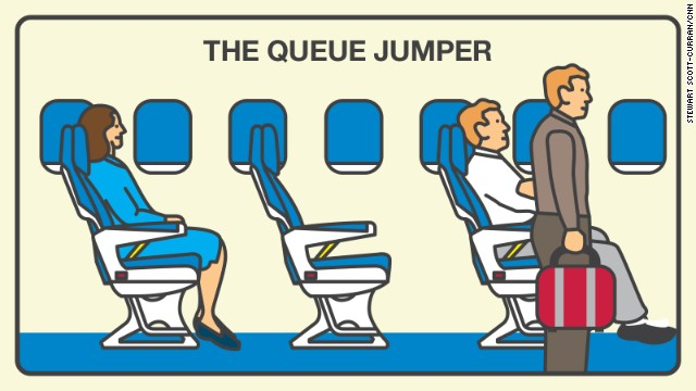 The queue jumper rushes to deplane, thinking those few extra minutes are more important for him than anyone else. And that is why 35% of fliers don't like you!