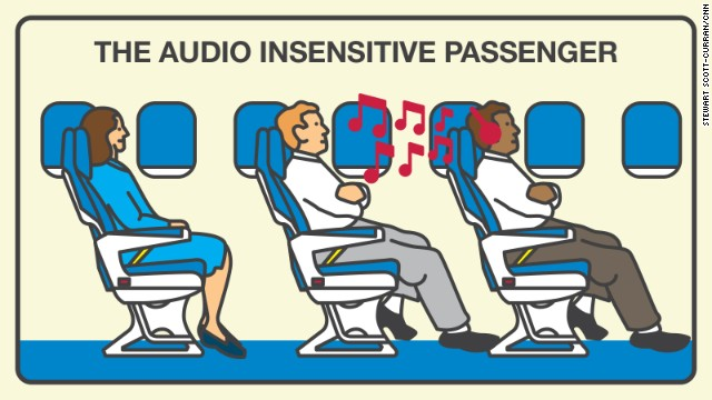 Passengers who talk, play games or listen to their favorite songs or shows at top volume aggravate about half of those surveyed.