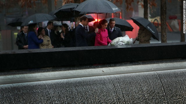 The royal couple lay a wreath at one of the reflecting pools of the National September 11 Memorial and Museum on December 9.