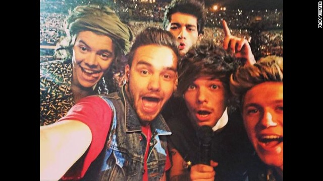 "The boy band One Direction <a href='https://twitter.com/onedirection/status/483581011260084224' target='_blank'>tweeted this selfie</a> Monday, June 30, after performing at the San Siro stadium in Milan, Italy. The band wrote, ""Milan, that was all sorts of epic!"""