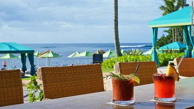 At Kauai's St. Regis Princeville Resort's Nalu Kai, drinks are made with fresh juice from local fruit like lilikoi and lychee.