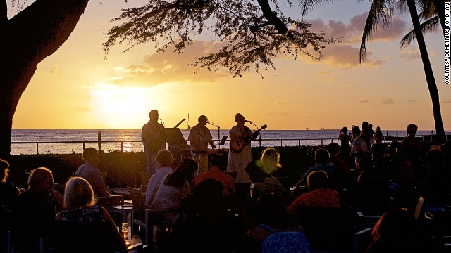 On Oahu, House Without a Key feels tucked away despite its Waikiki Beach address. Former Miss Hawaii winners hula dance each night on the oceanfront stage.