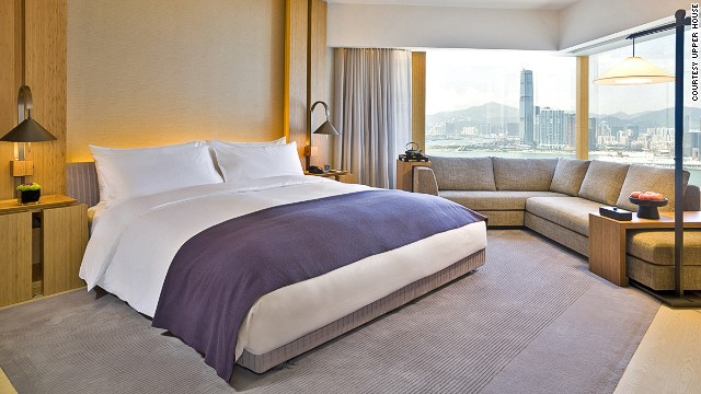 The Upper House occupies the top 13 floors of a 50-story building in the heart of Hong Kong's business district. Rooms offer views across the harbor and city.