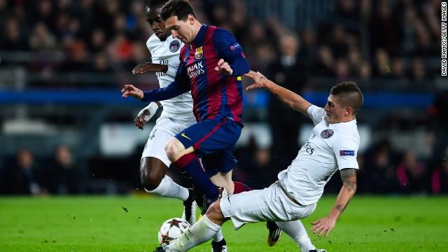 Lionel Messi netted his 75th Champions League goals Barcelona eased past Paris Saint-Germain 3-1 at Camp Nou.