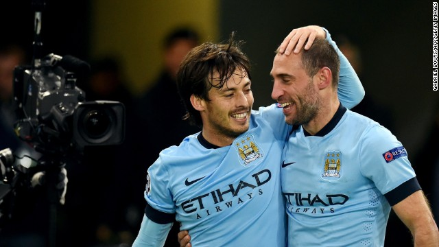 Pablo Zabaleta added a late second as City sealed a 2-0 win to finish behind Bayern Munich in Group E.