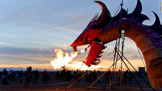 The festival culminates in a fiery display as many of the huge structures are torched.