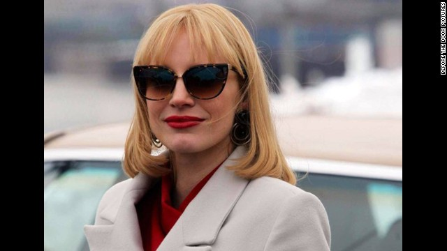 "Best supporting actress in a motion picture: Jessica Chastain, ""A Most Violent Year"" (pictured); Patricia Arquette, ""Boyhood""; Emma Stone, ""Birdman""; Meryl Streep, ""Into the Woods""; Keira Knightley, ""The Imitation Game."""