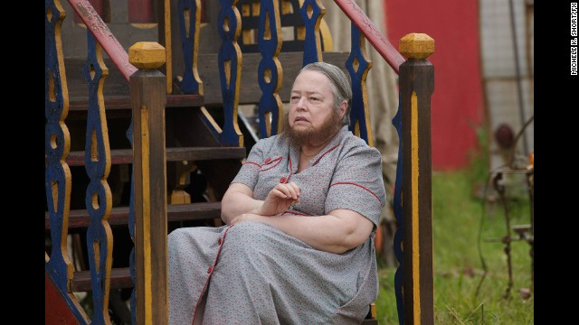 "Best supporting actress in a series, mini-series or TV movie: Kathy Bates, ""American Horror Story: Freak Show"" (pictured); Uzo Aduba, ""Orange Is the New Black""; Allison Janney, ""Mom""; Michelle Monaghan, ""True Detective""; Joanne Froggatt, ""Downton Abbey."""
