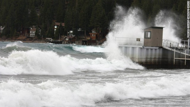 Strong winds kicked up large waves on Lake Tahoe on December 11.