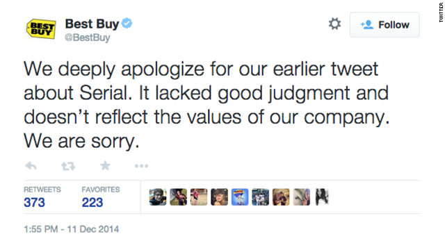"Best Buy said sorry after tweeting a joke involving a plot point at the center of a murder case covered on the first season of the popular ""Serial"" podcast. Whether a Maryland Best Buy location had a public pay phone outside the store was in dispute during the homicide investigation. Best Buy's quip: ""We have everything you need. Unless you need a payphone. #Serial"""
