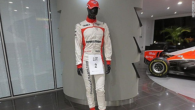 Max Chilton's race suit is one of the items being sold off. The British racing driver is one of 200 Marussia employees now without a job.