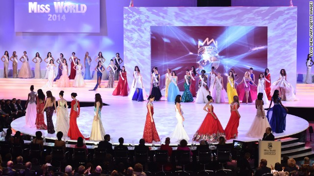 Contestants parade across the stage during the pageant.