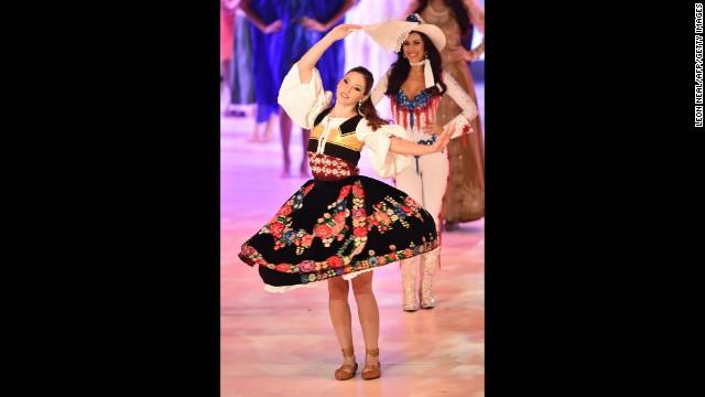 Miss Slovenia Julija Bizjak dances.