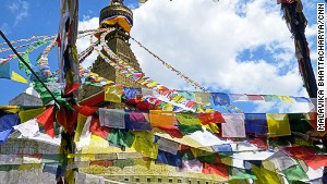 Boudhanath stupa's prayer flags.