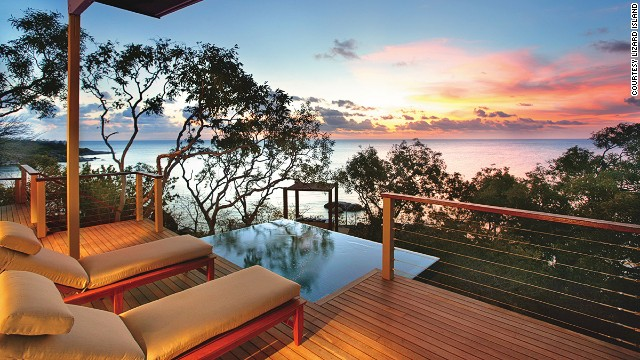 Lizard Island's villa interiors are a nod to Australia's Great Barrier Reef just outside. The earthy palette is accented by pops of coral, blue and gold.