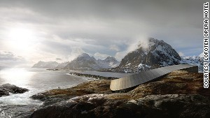 The Lofoten Opera Hotel is surrounded by wilderness. Emphasis on \