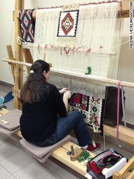 In order to keep the art alive, it is up to new generations to learn and hone the craft. Ceric is schooling her granddaughter in carpet-making.