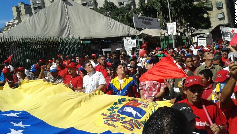 Protesta chavista contra sanciones de EE.UU.