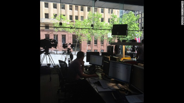 "SYDNEY, AUSTRALIA: ""Newsroom of CNN affiliate Seven Network - which directly overlooks the Lindt cafe, site of yesterday's deadly hostage crisis."" - CNN's Pamela Boykoff, December 16. Follow Pam (<a href='http://instagram.com/pboykoff' target='_blank'>@pboykoff</a>) and other CNNers along on Instagram at <a href='http://instagram.com/cnn' target='_blank'>instagram.com/cnn</a>."