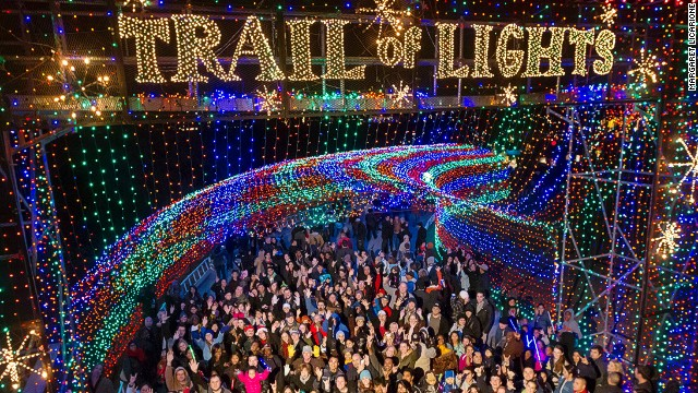 It takes 15,000 hours and 1,500 volunteers to put together the Trail of Lights in Austin, Texas. The 1.25-mile walking circuit features more than 100 lighted trees.