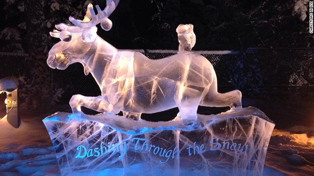 For the last eight years, residents of North Pole, Alaska, have hosted the six-week Christmas on Ice festival, combining lights with intricate ice sculptures.
