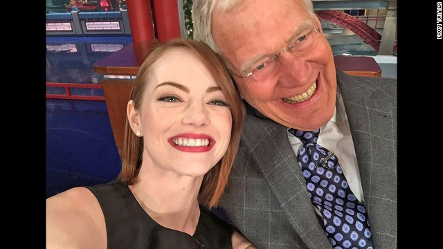 "Talk show host David Letterman and actress Emma Stone smile in this selfie <a href='https://twitter.com/Letterman/status/544692645025820673/photo/1' target='_blank'>tweeted by Letterman's official show account</a> on Monday, December 15. The tweet said: ""Emma Stone takes their selfie, Dave takes his Lipitor. Tonight!"""