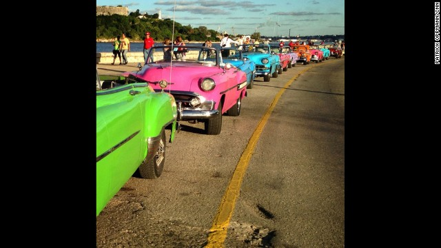 "CNN's Patrick Oppmann loves to capture ""Cuba moments"" with his camera, including this Instagram post of ""a row of classic cars rented for a wedding lined up on the malecon (Havana's famous highway and seawall)."" Oppmann, the only U.S. television correspondent based in Cuba, has lived on the Caribbean island for three years. Check out some of his favorite images or <a href='http://instagram.com/cubareporter/' target='_blank'>follow him on Instagram:</a>"