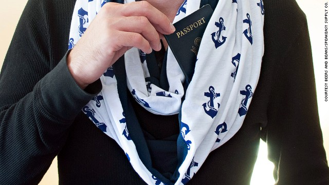 The Beer and Beans Speakeasy Scarf has a secret pocket in the folds of the fabric. Great for passport storage.