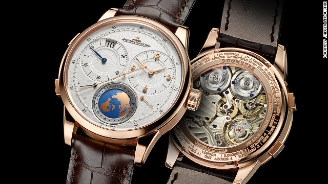 The pink-gold Travel Time watch from Jaeger-LeCoultre shows the time at home and at destination. The globe at the six o'clock position displays time zones and a day/night indicator.