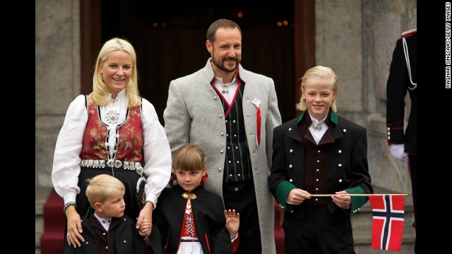Crown Prince Haakon of Norway is shown here with his wife, Princess Mette-Marit; son, Prince Sverre Magnus; daughter, Princess Ingrid Alexandra; and stepson, Marius Borg Hoiby.