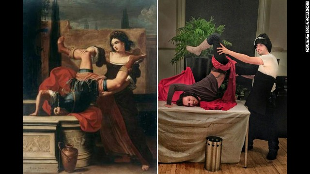 """Recreating """"Timoclea uccide il capitano di Alessandro Magno"""" by Elisabetta Sirani, 1659, required some athletic contortions. Click through the gallery for more examples of classic art reimagined by Chris Limbrick and Franscesco Fragomeni for the FoolsDoArt project."""
