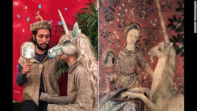 """""""Lady and the Unicorn: Sight"""" tapestry, circa 1500."""
