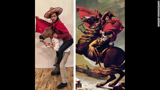 """""""Napoleon Crossing the Alps"""" by Jacques-Louis David, circa 1800."""