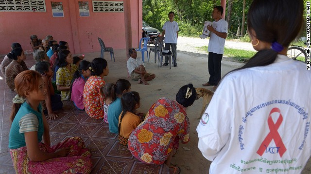 An NGO conducts a workshop with villagers in Takeo province, Cambodia on how to prevent HIV and other diseases in November 2013.