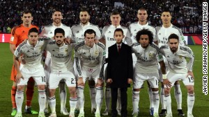 Real Madrid's players pose for a picture with Morocco's Prince Moulay Hassan before their FIFA Club World Cup final football match against San Lorenzo at the Marrakesh stadium in the Moroccan city of Marrakesh on December 20, 2014. AFP PHOTO / JAVIER SORIANO (Photo credit should read JAVIER SORIANO/AFP/Getty Images)