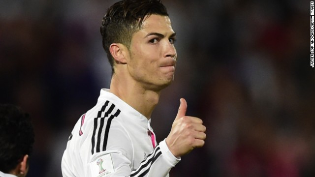 Real superstar Cristiano Ronaldo may have had a quiet night in Morocco but he gives his teammates the thumbs up as they secure victory.