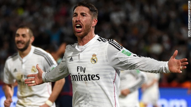 Real Madrid defender Sergio Ramos celebrates as he puts the European Champions ahead in the first half.