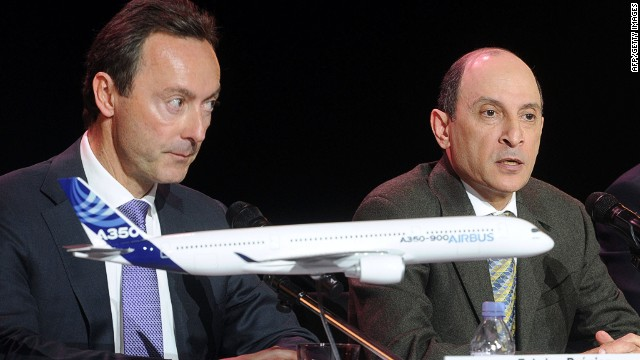 "At an event to mark the delivery, Airbus chief Fabrice Bregier, seen on the left, described Qatar Airways boss Akbar Al Baker as a ""tough customer."" He said: ""You are demanding, sometimes for us a bit too demanding."""