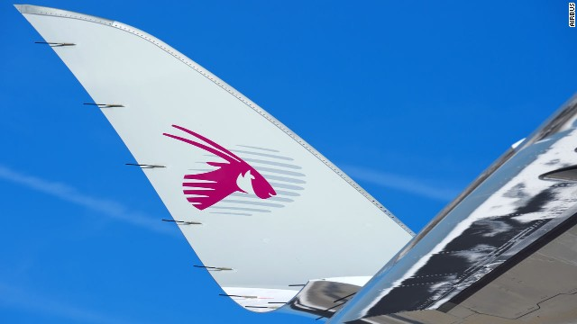 A closeup of the Qatar Airways A350 XWB wing 'Sharklet'.