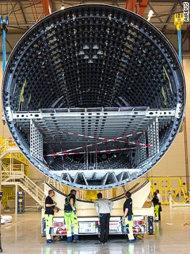The fuselage of the Qatar Airways' A350-900, assembled at Airbus' headquarters in Toulouse, France.