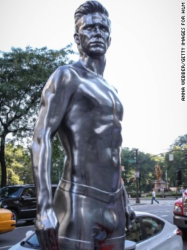 David Beckham's statue stands outside in New York as part of an H&M advertising campaign.