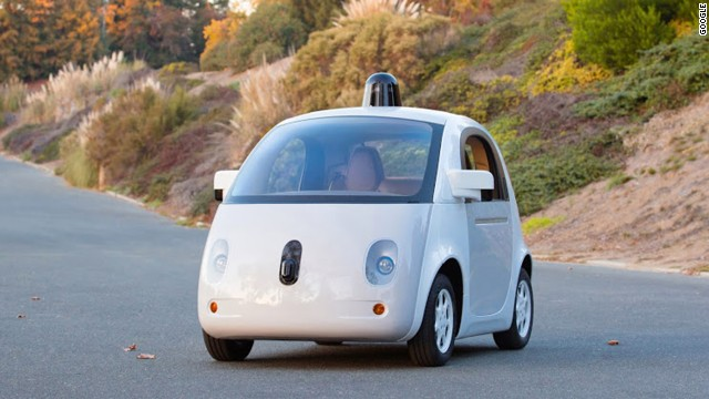 A working prototype of Google's self-driving car has cameras and sensors, but no permanent driver controls.