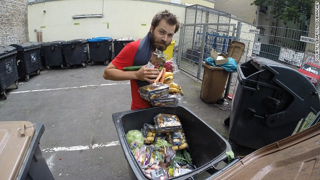 To highlight the issue of food waste, Frenchman Baptiste Dubanchet cycled from Paris to Warsaw eating food only found in trash cans.