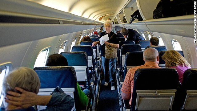 When a man on a United Airlines flight refused to remove his Knee Defender, which blocks seats from reclining, the woman in front of him threw water in his face. The plane was diverted to Chicago, where both passengers were removed. (File photo)
