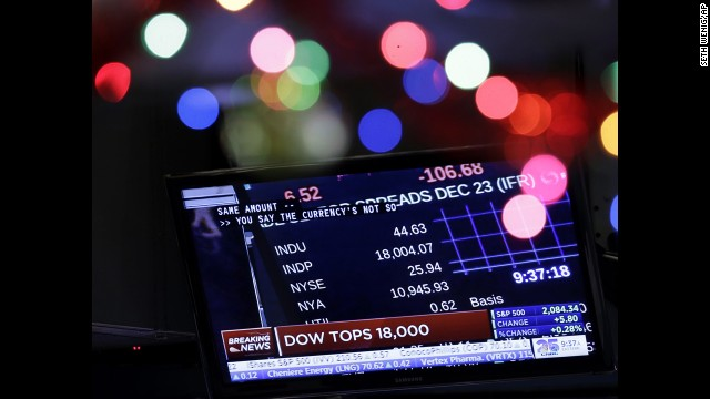 <strong>December 23: </strong>The Dow closed above the 18,000 milestone for the first time ever. The market jump came as investors learned that the U.S. economy grew at an impressive 5% pace in the third quarter. It was the strongest quarter of growth since 2003.