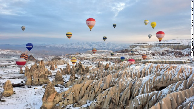 <strong>December 23: </strong>Hot-air balloons fly over Cappadocia, a historical region in Turkey's Central Anatolia Region.
