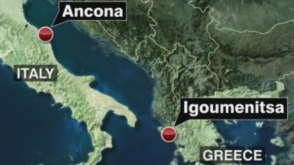 Ferry ablaze in Adriatic